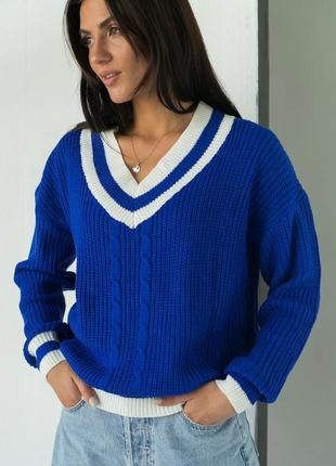 ❤️вязаный пуловер с контрастной отделкой ❤️