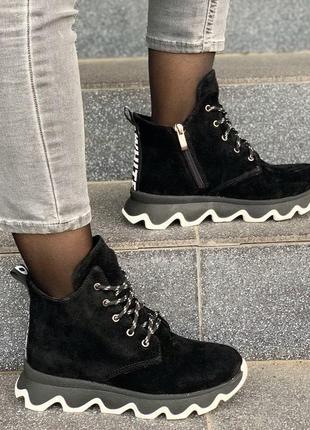Ботинки женские чёрные зима набивная шерсть