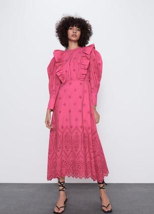 Шикарное котоновое платье миди прошва zara collection 2020