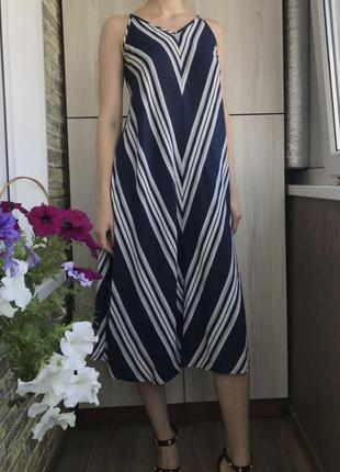 Легкое платье миди свободного кроя в полоску из натуральной ткани