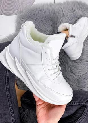 Новые женские зимние белые кроссовки