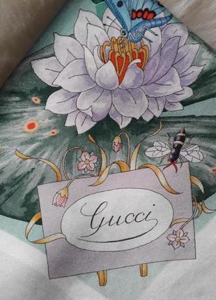 Шелковый платок gucci, gucci v.accornero vintage(оригинал,100% шелк)
