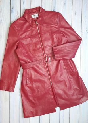 💥1+1=3 крутое красное кожаное пальто плащ 100% натуральная кожа, размер 50 - 52