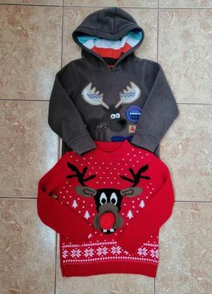 Стильный набор: теплая флисовая кофта флиска и нарядный свитерок deers2 фото