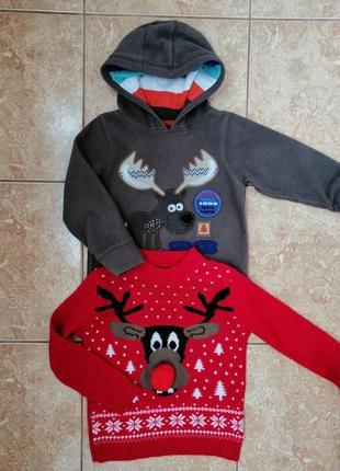 Стильный набор: теплая флисовая кофта флиска и нарядный свитерок deers3 фото