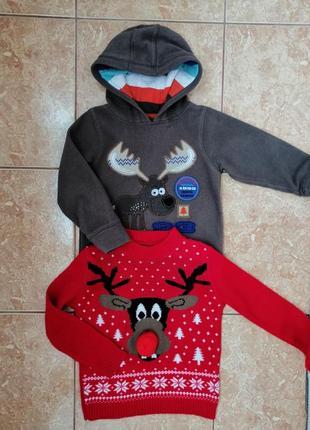 Стильный набор: теплая флисовая кофта флиска и нарядный свитерок deers4 фото