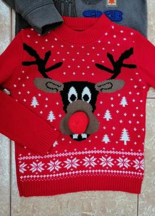 Стильный набор: теплая флисовая кофта флиска и нарядный свитерок deers6 фото