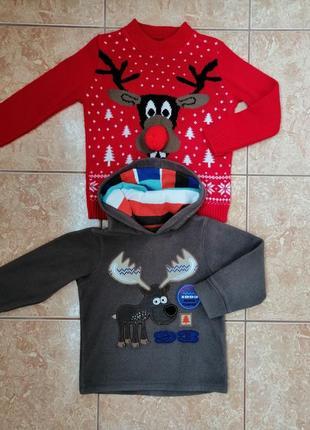 Стильный набор: теплая флисовая кофта флиска и нарядный свитерок deers8 фото