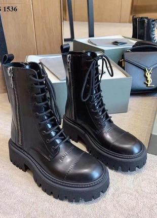 Ботинки женские на шнуровке натуральная кожа баленсиага
