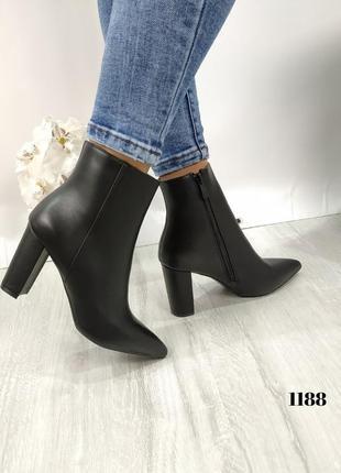 Демисезонные ботинки на небольшом каблуке. женские ботильоны с острым носочком