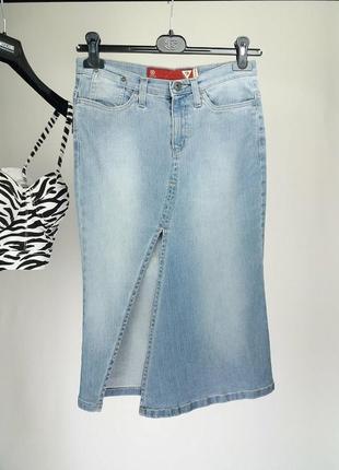 Sale!юбка guess джинсовая миди оригинал/спідниця міді/одяг європа