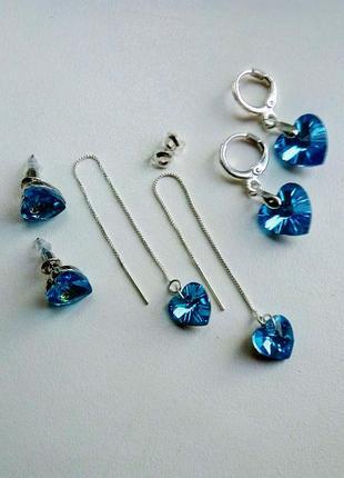 Серьги с голубым кристаллом