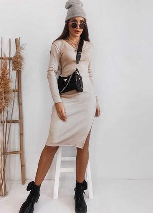 Женское платье ангора плотное, стрейчевое бежевое