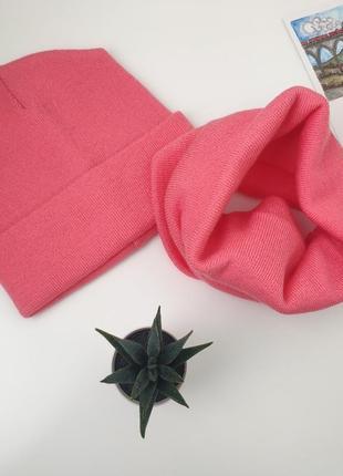 ! шапка и хомут бафф комплект много цветов унисекс