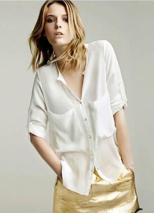 Актуальная стильная шифоновая рубашка блуза