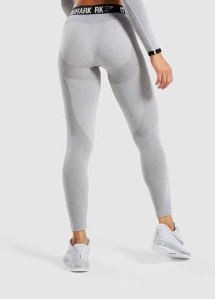Лосины gymshark flex v3 leggings джимшарк (light grey marl) xs
