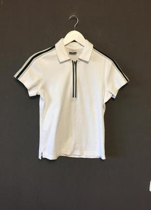 Тенниска поло футболка топ фирменная белая полоски сбоку стиль 2017