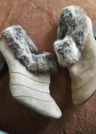 Замшеві черевики з мехом