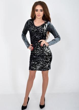 Платье с пайетками, цвет серый