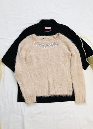 Вязаный свитер травка со стразами