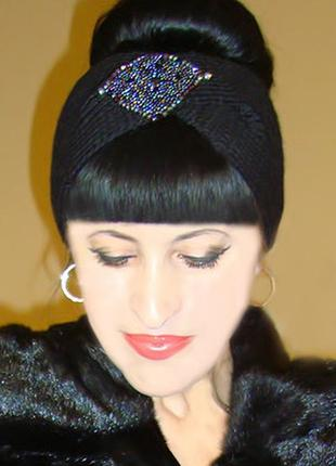 Вязаная повязка на голову чалма дизайнерская - трендовый стиль