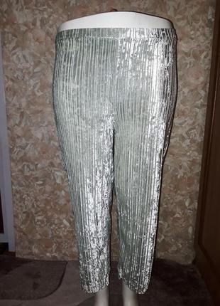 Светло мятные велюровые брюки в рубчик размер 10/м