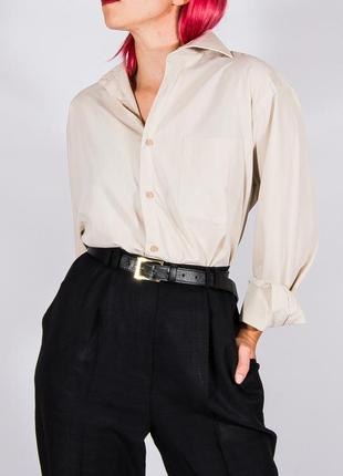 Женская классическая рубашка бежевая