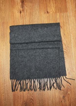 Серый шерстяной шарф 160*30см.