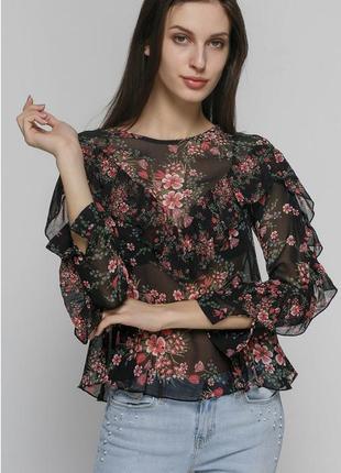 Шикарная цветочная блуза блузка с оборками zara