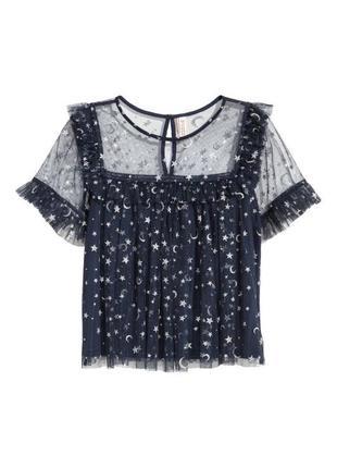 Шикарная блузка блуза сеточка с рюшами в звёздах h&m