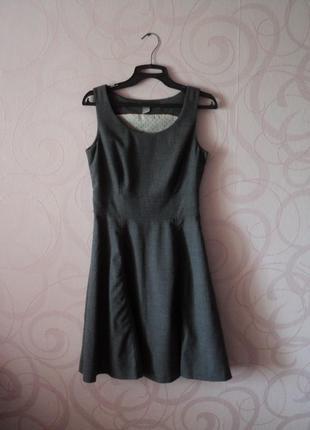 Серое платье для офиса, теплое платье в офис, элегантное офисное платье на каждый день