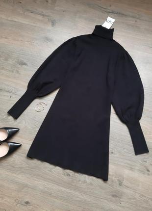 Платье в рубчик с объемными рукавами zara