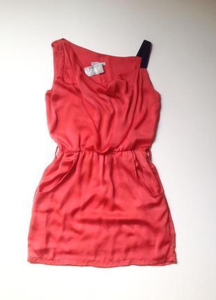 Красивое коралловое короткое платье размер 40