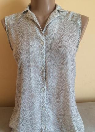 Супер легка сіра тонка шифонова блузка сорочка рубашка h&m