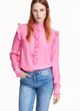 ❤️блуза рожева з рюшами та коміром стійка, розовая блуза рубашка h&m, s/m