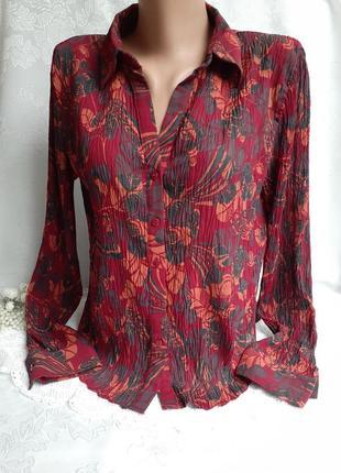 Блуза рубашка жатка креп цветочный принт с рукавом отложной воротник