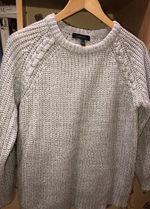 Вязанный серый свитер