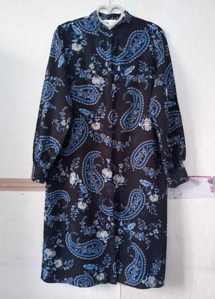 Длинная платье-рубашка в принт огурцы
