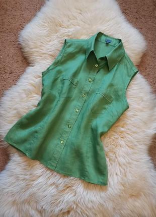 Рубашка без рукавов montego лен 100 % майка льняная на пуговицах льняной зелёный топ