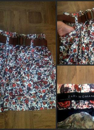 Вельветовая юбка zara (с ремнем)