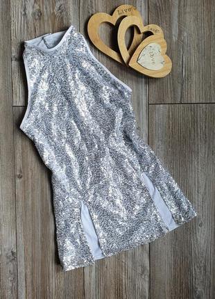 Платье для танцев серебристое 11-12л