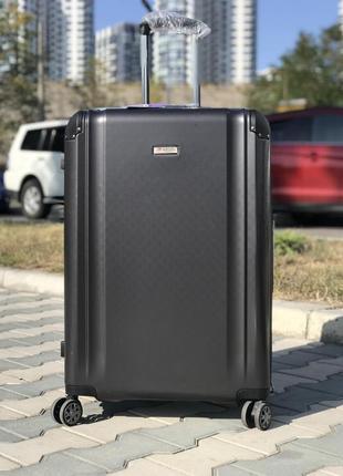 Большой пластиковый чемодан из поликарбоната графит франция