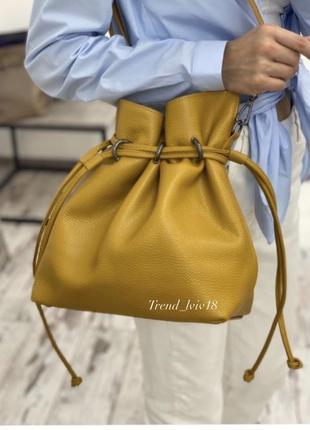 Сумка кожаная италия кроссбоди желтая клатч casual кожа vera pelle мешок