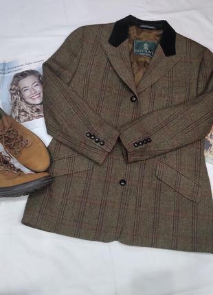 Тренд!! винтажный пиджак в гусиную лапку,шерсть 100%