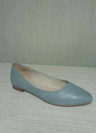 Caprice небесно-голубые кожаные балетки