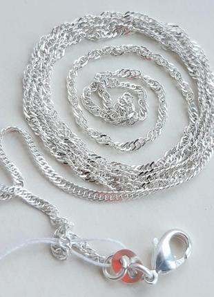 Серебряная цепочка плетения сингапур, 925 проба, 62 см