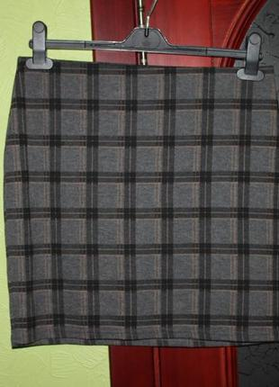 Трикотажная юбка клетка 12 eur наш 46-48 размер от new look