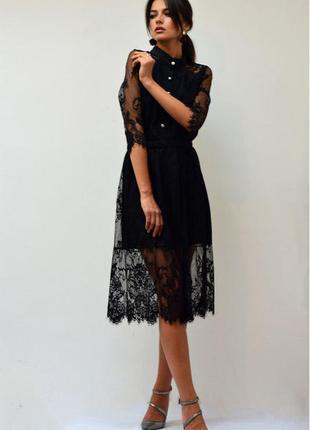Роскошное черное кружевное платье миди ( французское кружево )