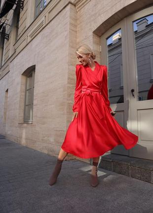 Шелковое пышное платье с юбкой-солнце