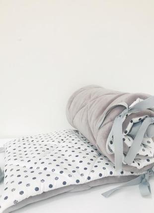 Бортики в кроватку двусторонние зима лето серые